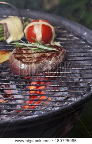 grilled steak on the barbecue outdoor in summer