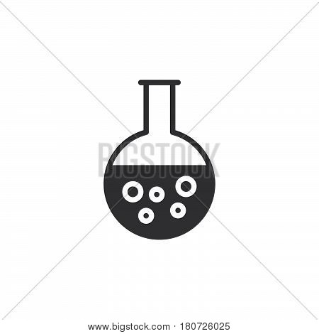 Round bottom flask beaker icon vector filled flat sign solid pictogram isolated on white. Chemical laboratory glassware symbol logo illustration. Pixel perfect