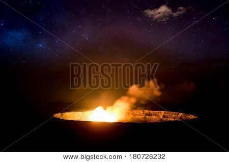 Erupting Volcano At Night In Volcanoes National Park, Hawaii