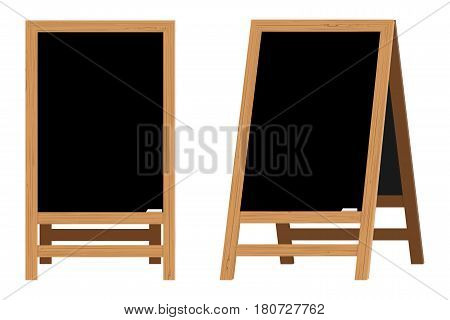 Set of Menu Black Boards. Vector illustration. Element on the theme of the restaurant business. For Chalk drawing. Realistic Wooden announcement board.