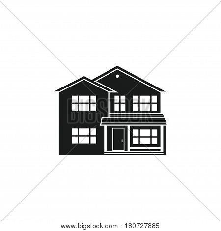 Vector silhouette suburban american house. For web design and application interface, also useful for infographics. Family house icon isolated on white background.