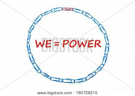We Power. Office Clips Isolated Over The White Background