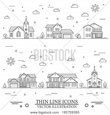 Neighborhood with homes and churches illustrated on white. Vector thin line icon suburban american houses. For web design and application interface, also useful for infographics. Vector dark grey.
