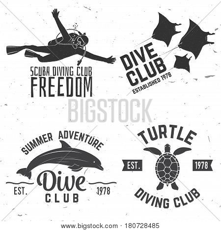Set of Diving club badges. Vector illustration. Concept for shirt or logo, print, stamp or tee. Vintage typography design with dolphin, diver, black manta and turtle silhouette.