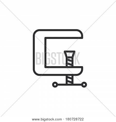 C-clamp line icon outline vector sign linear style pictogram isolated on white. Compress symbol logo illustration. Editable stroke. Pixel perfect