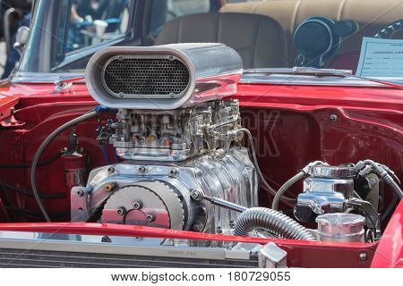 Muscle Car Engine On Display
