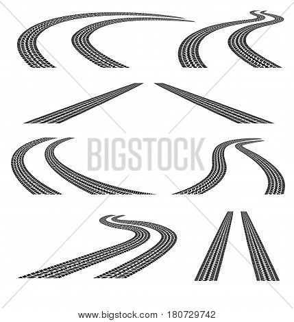 Set of road with tire tracks. Black and white. Clipping Mask.