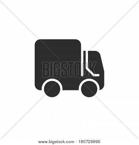 Delivery Shipping truck icon vector filled flat sign solid pictogram isolated on white. Lorry symbol logo illustration. Pixel perfect