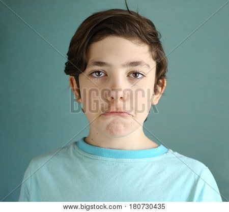 Teen Boy Grimacing Funny Close Up Portrait