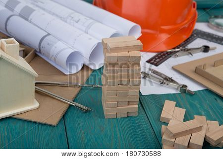 Workplace Of Architect - Construction Drawings And Engineering Tools, Little House, Model House From