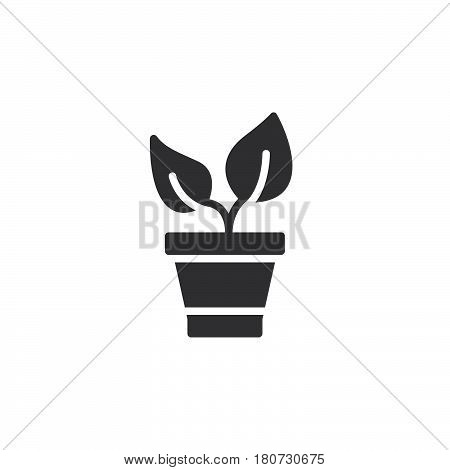 Plant in the pot icon vector filled flat sign solid pictogram isolated on white. Sprout symbol logo illustration. Pixel perfect