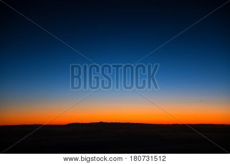 Aerial View From Airplane Window At Twilight