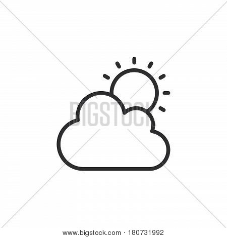 Cloud and sun line icon outline vector sign linear style pictogram isolated on white. Partly cloudy weather symbol logo illustration. Editable stroke. Pixel perfect