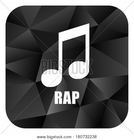 Rap music black color web modern brillant design square internet icon on white background.