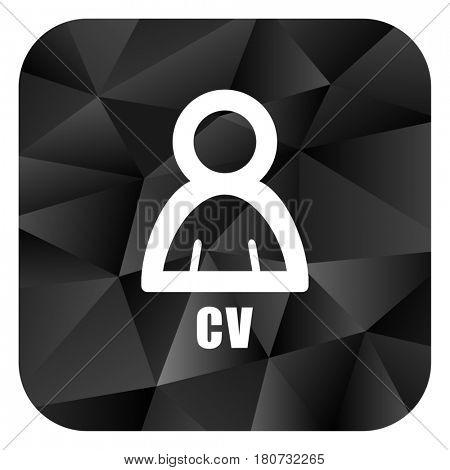 Cv black color web modern brillant design square internet icon on white background.