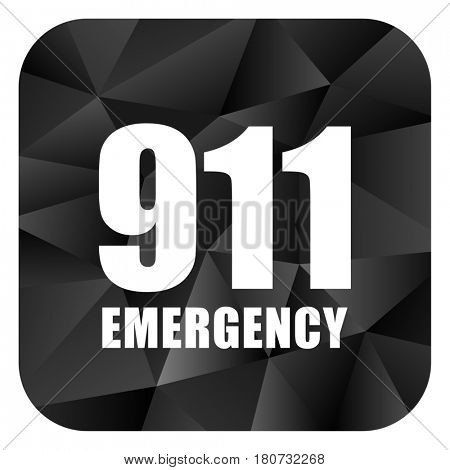 Number emergency 911 black color web modern brillant design square internet icon on white background.