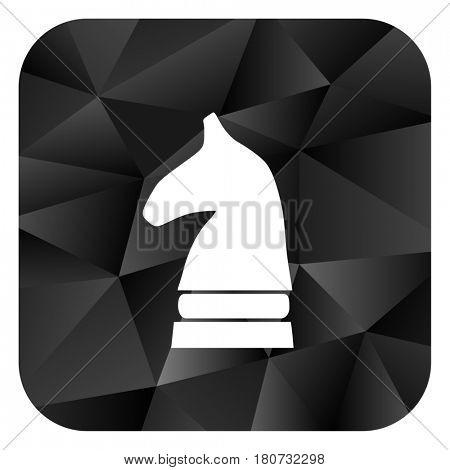 Chess horse black color web modern brillant design square internet icon on white background.