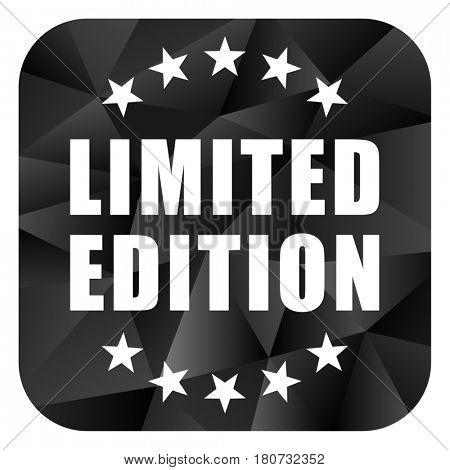 Limited edition black color web modern brillant design square internet icon on white background.