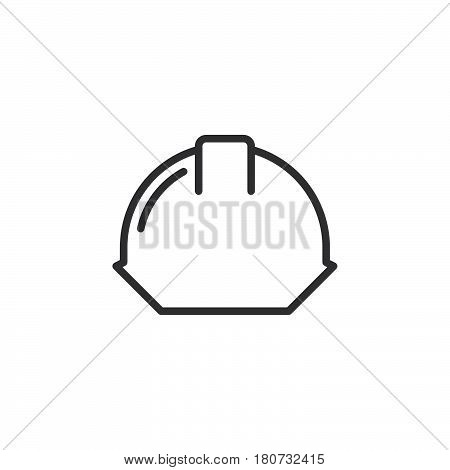 Safety helmet line icon outline vector sign linear style pictogram isolated on white. Hard hat symbol logo illustration. Editable stroke. Pixel perfect