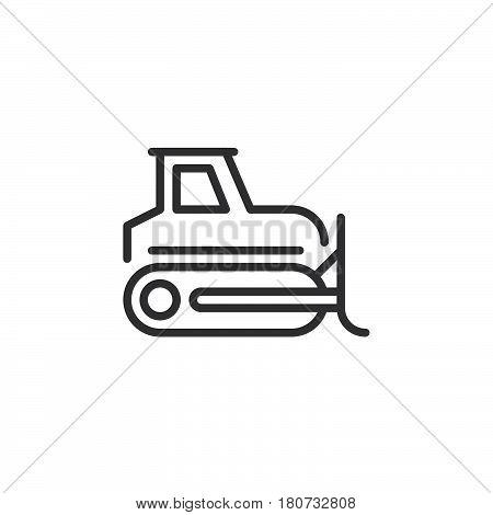 Bulldozer crawler line icon outline vector sign linear style pictogram isolated on white. Symbol logo illustration. Editable stroke. Pixel perfect