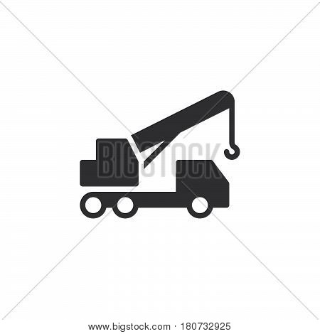 Mobile telescopic truck mounted crane icon vector filled flat sign solid pictogram isolated on white. Symbol logo illustration. Pixel perfect