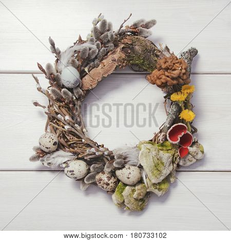 Spring Wreathon A White Wooden Background