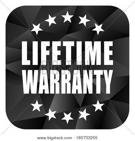 Lifetime warranty black color web modern brillant design square internet icon on white background.