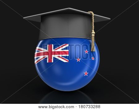 3D Illustration. Graduation cap and New Zealand flag. Image with clipping path