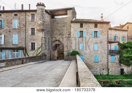 the fifteenth century Porte des Recollets the access to the town Largentiere in the provence Ardeche in France