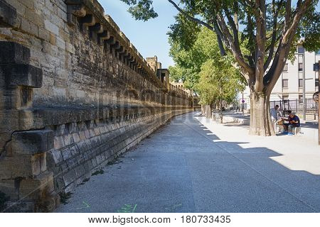 Avignon France September 9 2015: The historic center of Avignon in France is surrounded by a high city wall