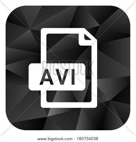 Avi file black color web modern brillant design square internet icon on white background.