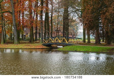 Farms overlooking the moat of the castle Cannenburgh in Vaassen in the Dutch province of Gelderland.