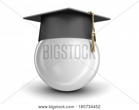 3D Illustration. Graduation cap. Image with clipping path