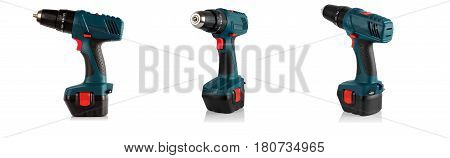 cordless screwdriver and three angles on a white background