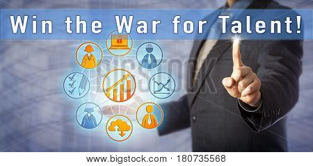 Blue chip executive coach is urging to Win the War for Talent! Human resources management metaphor and business concept for companies embracing recruiting technologies to attract the best candidates.