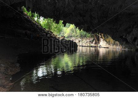 The Entrance Of Karst Limestone Tham Kong Lo Cave