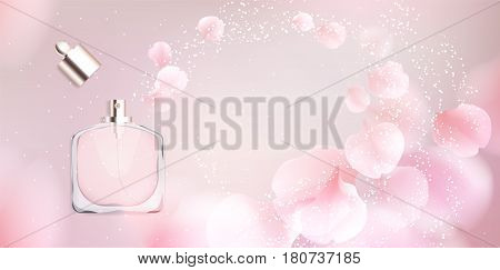 Fashion accessories collection. Toilet water perfume bottle with rose flower petals. Spring style organic cosmetics background. White and pink soft color romantic vector illustration design.
