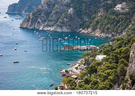 View of Marina Piccola on southern coast of Capri Island Campania Italy