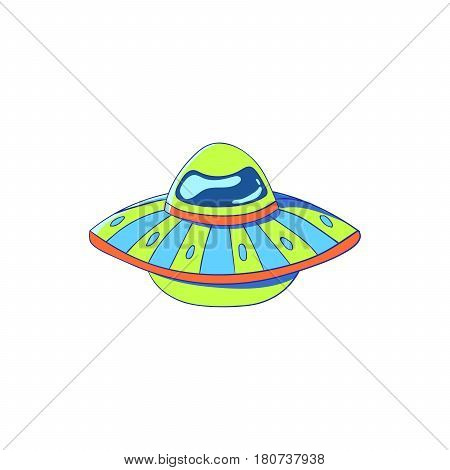 Flying saucer in cartoon style. Vector illustration