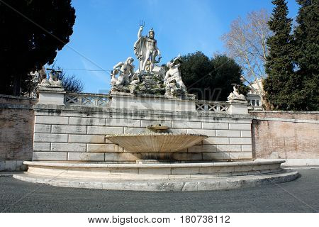 Piazza del Popolo (People's Square) named after the church of Santa Maria del Popolo in Rome Italy
