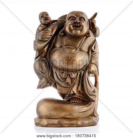 Metal figurines, decorative figurines, buddha, monk, isolated white background