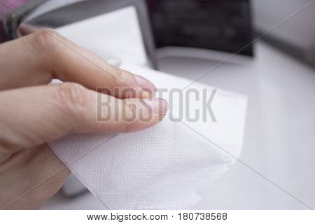 Napkin coming out of a napkin holder