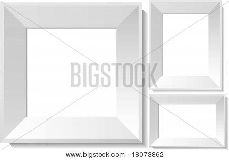Realistic white photo frames