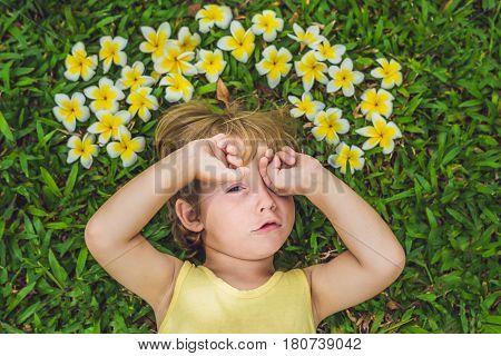 Beautiful Little Boy Lies On Meadow With Frangipani