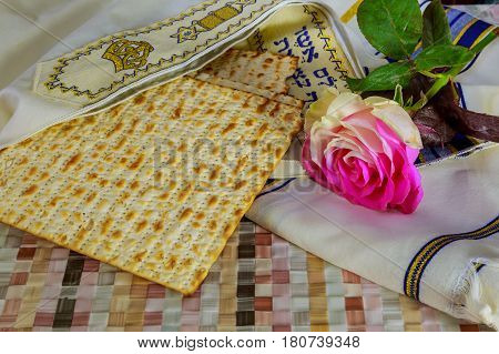 Jewish Products, Food, Passover Pesah On Wooden Background.