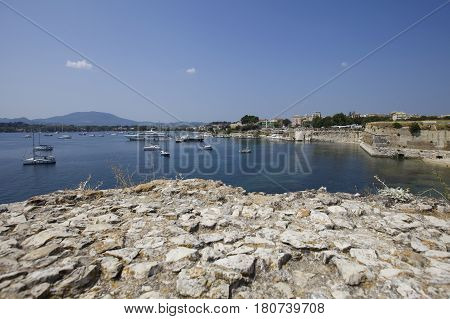 Look at Kerkyra harbour with yachts in summer