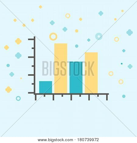 Business icon, management. Simple vector icon of a rising  block diagram. Flat style.