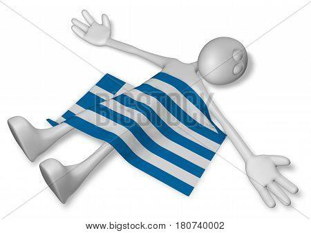 dead cartoon guy and flag of greece - 3d illustration