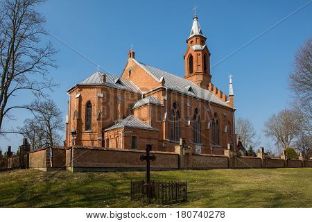 Kernave church in Kernave Lithuania. Kernave is the historic capital of Lithuania UNESCO World Heritage Site.