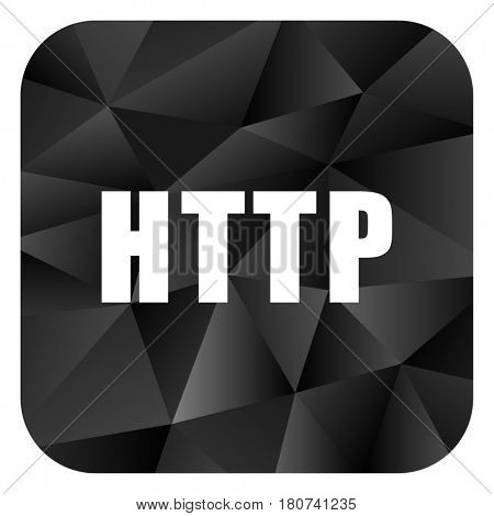 Http black color web modern brillant design square internet icon on white background.